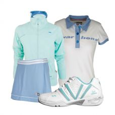 PACK VARLION ZAPATILLAS V-ADVANCED CELESTE, CHAQUETA MD12S10, FALDA ANIVERSARY Y POLO ORIGINAL
