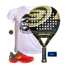 PACK BULLPADEL GOLD EDITION Y ZAPATILLAS BULLPADEL BEWER