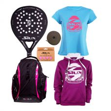 PACK SIUX BLACK CARBON JUNIOR Y MOCHILA DIABLO FUCSIA