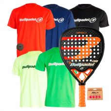 PACK BULLPADEL VERTEX 2 CON 5 CAMISETAS BULLPADEL