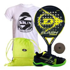 PACK DUNLOP FLASH PRO AMARILLA Y SOFTEE WINNER 1.0 NEGRO VERDE