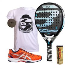 PACK BULLPADEL HACK CONTROL Y ZAPATILLAS ASICS GEL PADEL EXCLUSIVE 4SG NARANJA
