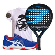PACK BULLPADEL LEGEND 3.0 Y ZAPATILLAS ASICS BELA 6 SG AZUL ROJO