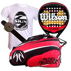 PACK WILSON SLASH PADDLE Y PALETERO PADEL SESSION PRO SERIES ROJO