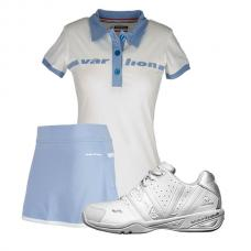 PACK ZAPATILLAS VARLION CLASS POLO ORIGINAL BLANCO Y FALDA ORIGINAL CELESTE