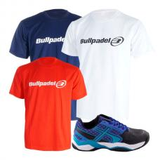 PACK SOFTEE PADEL LEADER AZUL NEGRO Y 3 CAMISETAS BULLPADEL